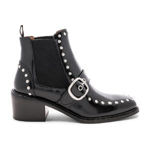 COACH Nora Chelsea Leather Studded Buckle Booties